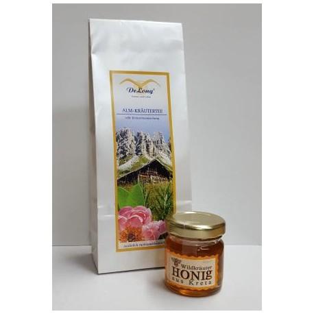 Alm Kräutertee 75g  +  Wildkräuter Honig  40g